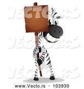 Vector of a Happy Cartoon Zebra Holding a Blank Sign by Graphics RF
