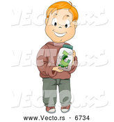 Vector of a Happy Caucasian Boy Holding a Money Jar by BNP Design Studio