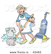 Vector of a Happy Caucasian Housewife, Maid, House Keeper, Custodian or Janitor Woman Mopping a Floor near a Broom and Vacuum by LaffToon
