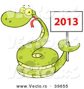 Vector of a Happy Coiled Cartoon Snake Holding a Year 2013 Sign by Hit Toon