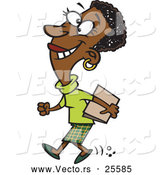 Vector of a Happy Cross Eyed Cartoon Black Businesswoman Walking with a Folder by Ron Leishman