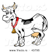 Vector of a Happy Dairy Cow Wearing a Bell Around Its Neck by LaffToon
