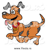 Vector of a Happy Dog Trotting with His Tongue Hanging out by LaffToon