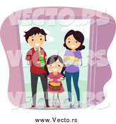 Vector of a Happy Family Giving Food and Beverage to Welcome New Neighbors by BNP Design Studio