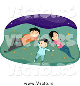 Vector of a Happy Family Laying in Grass and Gazing at Stars at Night by BNP Design Studio