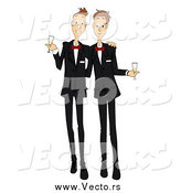 Vector of a Happy Gay Couple Toasting After Getting Married by BNP Design Studio