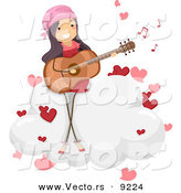 Vector of a Happy Girl Singing a Love Song While Playing a Guitar on a Cloud with Hearts by BNP Design Studio
