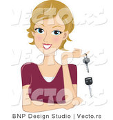 Vector of a Happy Girl with a New Set of Car Keys by BNP Design Studio