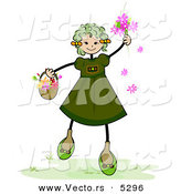 Vector of a Happy Girl with Spring Flowers by BNP Design Studio