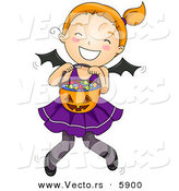 Vector of a Happy Halloween Cartoon Bat Girl Holding a Pumpkin Bucket Full of Candy by BNP Design Studio