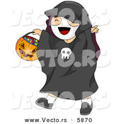Vector of a Happy Halloween Cartoon Boy Wearing a Skeleton Costume While Carrying a Pumpkin Candy Basket by BNP Design Studio