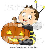 Vector of a Happy Halloween Cartoon Boy Wearing Bee Costume While Sitting Besid a Carved Pumpkin by BNP Design Studio