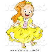 Vector of a Happy Halloween Cartoon Girl in a Princess Costume by BNP Design Studio