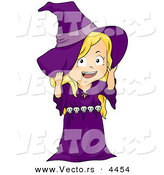 Vector of a Happy Halloween Cartoon Girl in a Witch Costume by BNP Design Studio