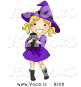 Vector of a Happy Halloween Cartoon Witch Girl Holding a Voodoo Doll by BNP Design Studio