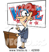 Vector of a Happy Happy Cartoon Female Politician Giving a Vote Themed Speech Before an Election by Toonaday