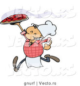 Vector of a Happy Italian Caroon Chef Running with a Fresh Hot Pizza Pie by Gnurf
