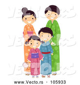 Vector of a Happy Japanese Family Posing Together by BNP Design Studio