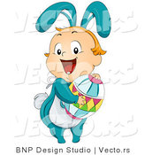 Vector of a Happy Kid Bunny Holding Easter Egg by BNP Design Studio