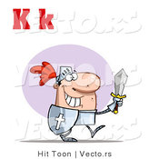 Vector of a Happy Knight with Upper and Lowercase Letter K by Hit Toon