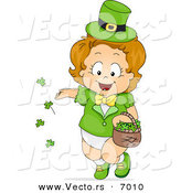 Vector of a Happy Leprechaun Baby Girl Tossing Lucky Shamrocks Around by BNP Design Studio