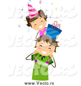 Vector of a Happy Little Birthday Girl with a Gift on Her Dad's Shoulders by BNP Design Studio