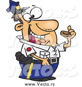 Vector of a Happy Male Police Officer Eating a Donut by Toonaday