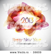 Vector of a Happy New Year 2013 Greeting Background with Abstract Shapes and Patterns by KJ Pargeter