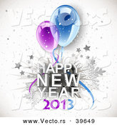 Vector of a Happy New Year 2013 Greeting with Party Balloons by Oligo