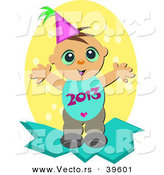 Vector of a Happy New Year Baby Boy with 2013 over His Belly by