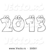 Vector of a Happy Outlined 2013 Cartoon Digits by Hit Toon