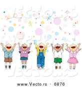Vector of a Happy Party Kids Celebrating with Their Hands up over Bubbles and Confetti by BNP Design Studio