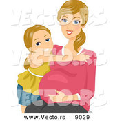 Vector of a Happy Pregnant Mother Embracing Her Daughter and Belly by BNP Design Studio
