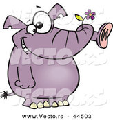 Vector of a Happy Purple Elephant with a Flower in His Trunk by Ron Leishman