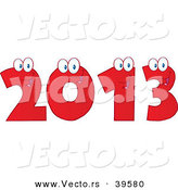 Vector of a Happy Red 2013 Cartoon Digits by Hit Toon