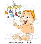 Vector of a Happy Red Haired Caucasian Baby Playing with a Mobile Toy by BNP Design Studio