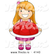 Vector of a Happy Red Haired Girl Carrying a Giant Tray of Gelatin by BNP Design Studio