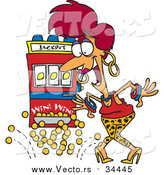 Vector of a Happy Red-Head Woman Winning Jackpot at a Casino - Cartoon Style by Toonaday