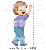 Vector of a Happy School Boy Drawing a Vertical Line on a Wall by BNP Design Studio