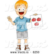 Vector of a Happy School School Boy Holding a Red Apple Flash Card by BNP Design Studio
