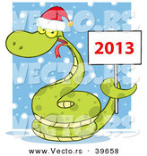Vector of a Happy Snake Wearing a Santa Hat with a 2013 Sign in the Snow by Hit Toon