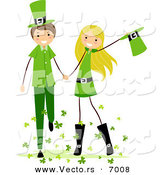 Vector of a Happy St. Patrick's Day Boy and Girl Holding Hands by BNP Design Studio