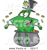 Vector of a Happy St. Patrick's Day Cartoon Frog Tossing Gold Coins into the Air from a Pot by Toonaday
