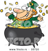 Vector of a Happy St. Patrick's Day Cartoon Leprechaun Playing in a Pot Full of Gold by Ron Leishman