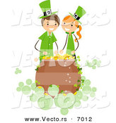 Vector of a Happy St. Patrick's Day Girl and Boy over a Lucky Pot of Gold by BNP Design Studio