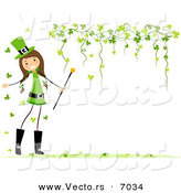Vector of a Happy St. Patrick's Day Girl Beside a Blank Background with Clovers Forming a Border by BNP Design Studio