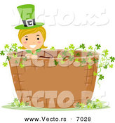 Vector of a Happy St. Patrick's Day Girl Standing in a Basket Full of Clovers by BNP Design Studio