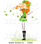 Vector of a Happy St. Patrick's Day Girl Standing Within Clovers Blowing All Around Her by BNP Design Studio
