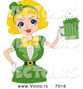 Vector of a Happy St. Patrick's Day Pin-up Girl Serving Green Beer in a Mug by BNP Design Studio