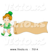 Vector of a Happy St. Patrick's Day Toddler Boy with a Blank Banner by BNP Design Studio